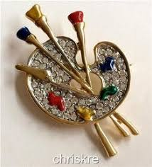 Gifts For Makeup Artists Gold Plated Hair Stylist Gift Pin Brooch Set Scissors Comb