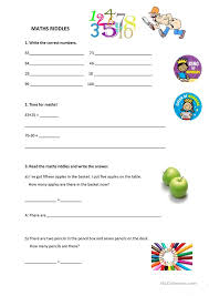 all worksheets math riddles worksheets free printable