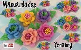 flores de foamy flores triples con pistilos de foamy o goma eva hechas con moldes