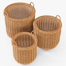 wicker basket 7 toasted oat color 3d model cgtrader