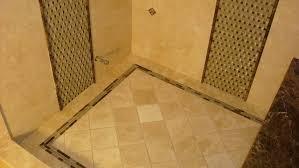 open steam shower design alongside basketweave glass wall tile and