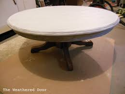 large round cocktail table painted pedestal coffee table the weathered door