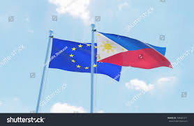 Flag Za Philippines European Union Two Flags Waving Stock Illustration