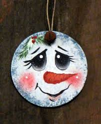 snowman faces handpainted wooden ornament snowman by