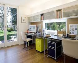 Black Gloss Laminate Flooring Home Office With Brown Laminate Floors And Long Black Desk Picture