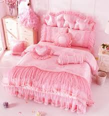 girls frilly bedding bedding home textile korean pink lace ruffle bedding set romantic