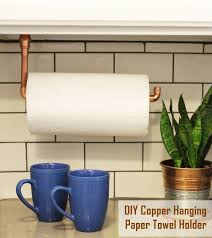 diy under cabinet hanging copper paper towel holder interior designs