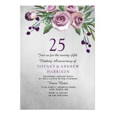 purple silver 25th anniversary invitations u0026 announcements