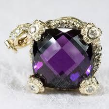 14k gold large diamond amethyst exotic 7 42ctw deep purple amethyst diamond pansy enhancer 14k