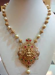 pearl necklace with pendant images Gold pearl mala with lakshmi pendant gold pearl pearl jewelry jpg