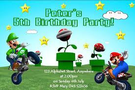 personalised mario birthday invitations