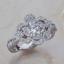 moissanite vintage engagement rings 14k white gold moissanite engagement ring wedding ring