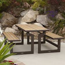 Folding Picnic Table To Bench Amazon Com Lifetime Products Wood Grain Convertible Folding