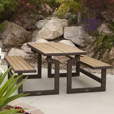 Convertible Picnic Table Bench Amazon Com Lifetime Products Wood Grain Convertible Folding
