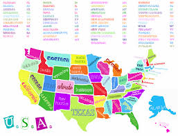 Louisiana State Map by Cute Colorful Map With State Initial Code Cheat Sheet Freebies