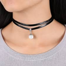 vintage leather choker necklace images Celebrity double layer black imitation leather choker necklace jpg