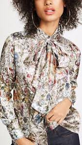 metallic blouse 398 burch bow blouse melody floral metallic top