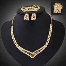 bracelet ring set images Crystal alloy 18k gold plated bridal necklace earring bracelet jpg