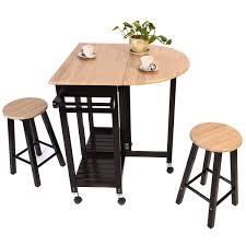 kitchen island table with stools amazon com giantex 3pcs wood kitchen rolling casters fold table