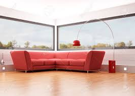 modern living room with red velvet sofa and big windows