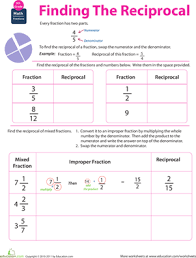 fraction math find the reciprocal worksheet education com