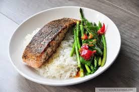 cuisine oliver green tea salmon miso greens and coconut rice oliver 15