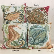 sealife hooked coastal decorative pillows