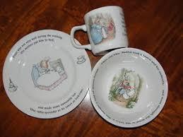 rabbit nursery set by wedgwood rabbit wedgwood 3 pc nursery set mug plate bowl beatrix