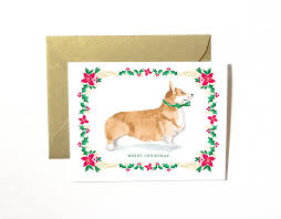 dog christmas cards corgi dog christmas card set mospens studio custom