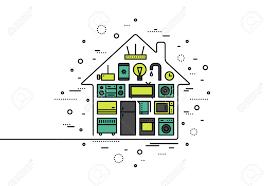 thin line flat design of smart house appliances centralized