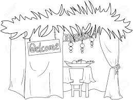 a vector illustration coloring page of a sukkah decorated with