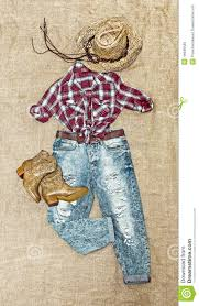clothing in country style on vintage background stock photo