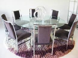 Circular Glass Dining Table And Chairs Dining Room Large Round Glass Dining Table 8 Seats Purple