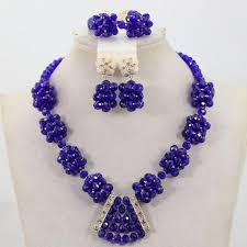 beaded balls royal blue beaded jewelry set zackonline