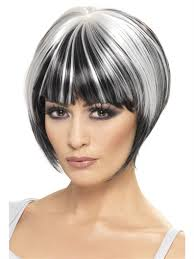 gray hair streaked bith black buy quirky bob wig black with white streaks by smiffys for 6 92