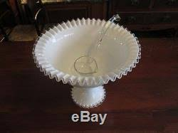 Pedestal Punch Bowl Fenton White Milk Glass Ruffle Edge Silver Crest Pedestal Punch Bowl