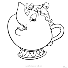 Mrs Potts Coloring Page mrs potts and the beast color page disney coloring pages