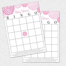 baby shower bingo game printable and pale pink and