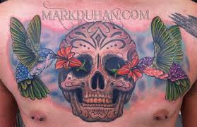 sugar skull n hummingbird chest piece tattoo design tattoos book