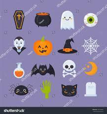 flat halloween icons creepy symbols infographics stock vector