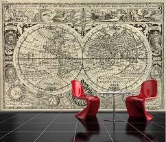 self adhesive old world map decorating photo wall mural wallpaper