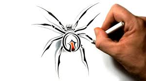 how to draw a black widow spider tribal tattoo design youtube