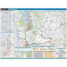 Washington State Map Cities Towns by Rand Mcnally Washington State Wall Map