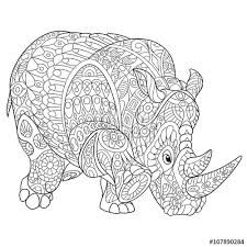zentangle stylized cartoon rhino rhinoceros isolated on white