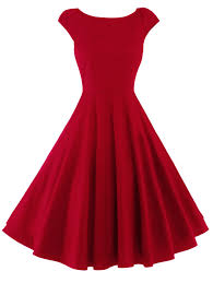vintage dresses red m retro high waist fit and flare dress gamiss