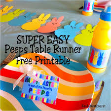Easter Table Decorations by Super Easy Easter Peeps Printable Table Runner Everyday Parties
