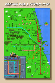 Green Line Chicago Map by Super Mario U0026 Zelda Chicago L Maps