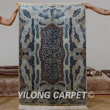 Silk Turkish Rugs Yilong 3 3 U0027x5 U0027 Tabriz Silk Carpet Dark Blue Handmade Exquisite