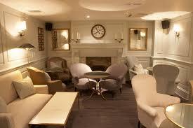 beige interior decoration for cool basement finishing idea filled