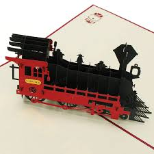 Halloween Inflatable Train 3d Pop Up Train Greeting Card Happy Birthday Thank You Christmas